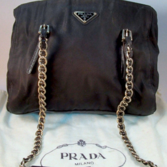 58e5cf817487 Authentic PRADA Tessuto Black Nylon Chain Tote. M_5c3c2445534ef90cdfe53b2e